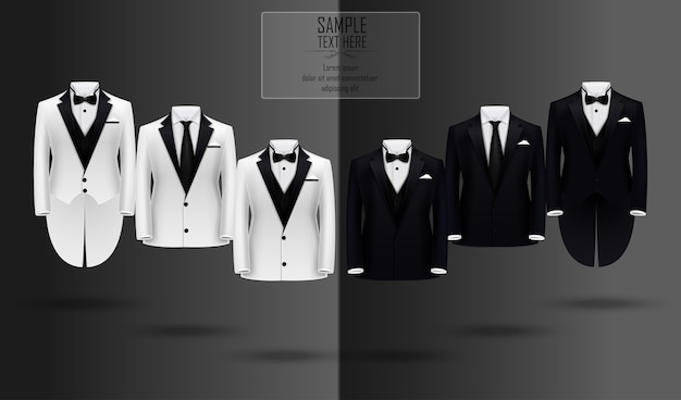 Realistic set of black and white suits and tuxedo Premium Vector