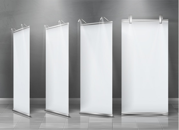 Realistic set of blank roll up banners, vertical stands for exhibition and business presentation Free Vector