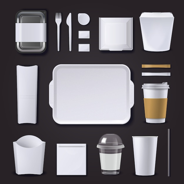 Realistic set of burger bar packaging from plastic and paper Free Vector