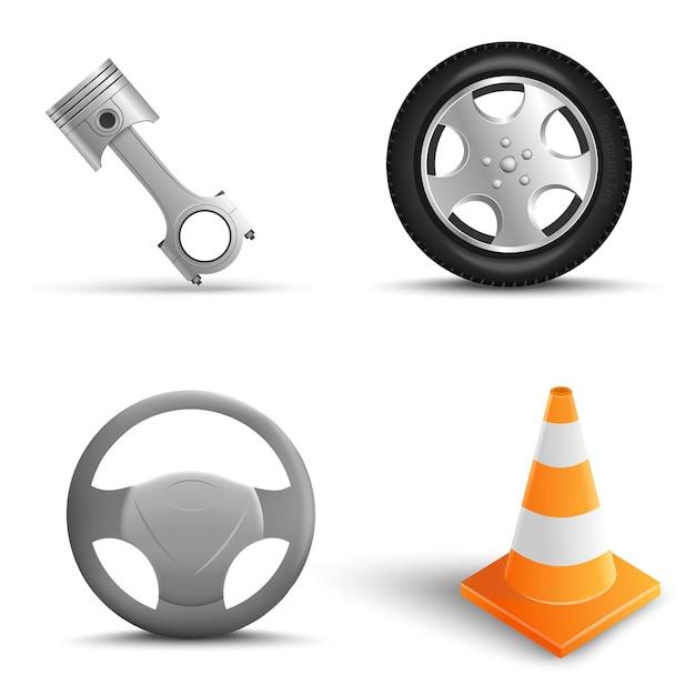 Realistic set of car repair elements. traffic cone, tire, steering wheel, engine pistons. vector illustration Premium Vector