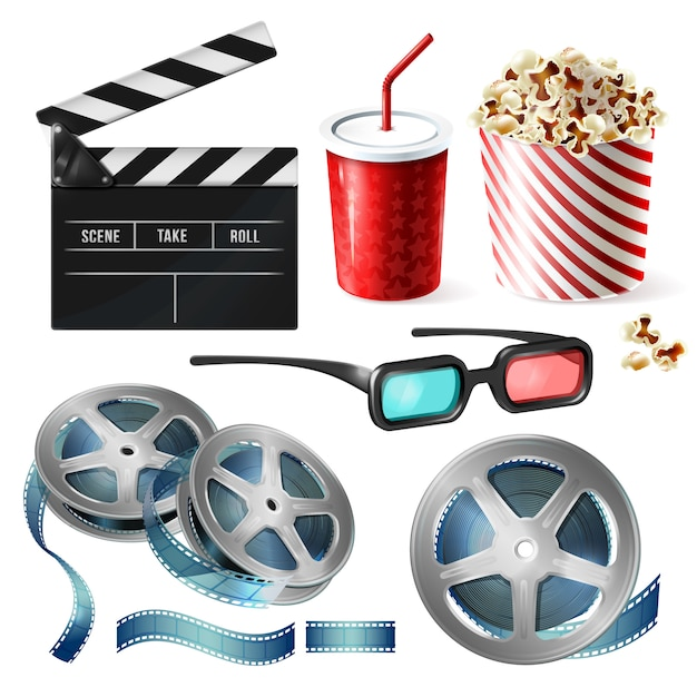Realistic set of cinema equipment, cardboard bucket with popcorn, plastic cup for drinks Free Vector
