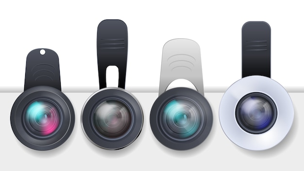Realistic set of clip-on lenses for mobile devices, smartphones and tablets Free Vector