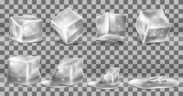 Realistic set of cold solid ice cubes, melting process of icy blocks with drops Free Vector