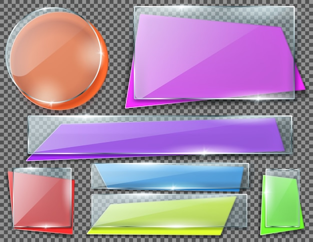 Realistic set of color banners under transparent glass plates, blank shining isolated frames. Free Vector