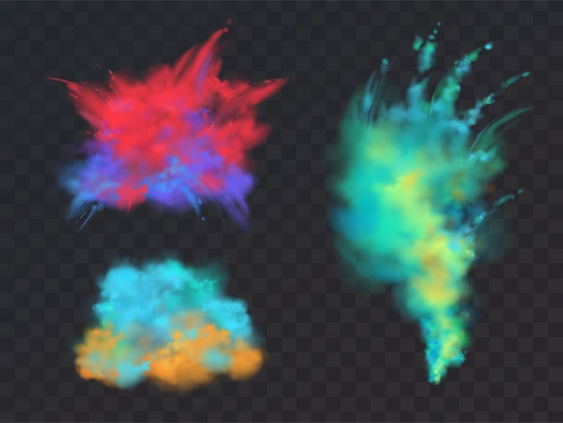 Realistic set of colorful powder clouds or explosions, isolated on transparent background. Free Vector