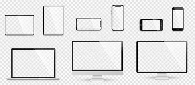 현실적인 설정된 컴퓨터, 노트북, 태블릿 및 스마트 폰. 장치 화면 모형 모음. 그림자가있는 컴퓨터, 노트북, 태블릿, 전화를 현실적인 모의 프리미엄 벡터