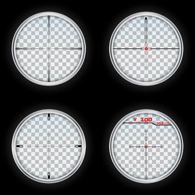 Realistic set of crosshair vector Premium Vector