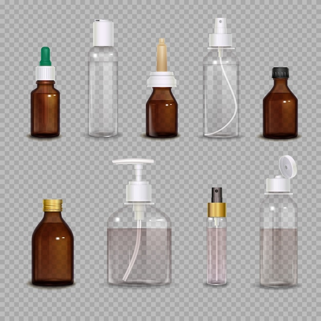Realistic set of different bottles Free Vector
