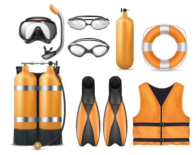 Realistic set of diving equipment, snorkeling mask, flippers, swim glasses, aqualung Free Vector