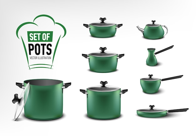 Realistic set of green kitchen appliances, pots of different sizes, coffee maker, turk, stewpan, frying pan, kettle Premium Vector