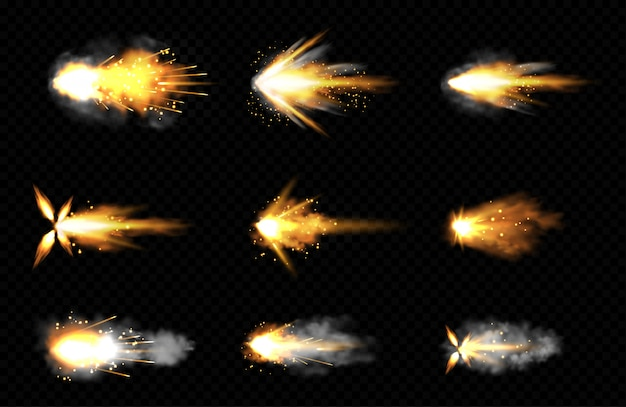 Realistic set of gun shots with fire and smoke Free Vector