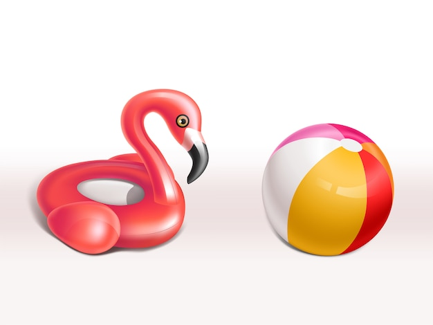 Realistic set of inflatable flamingo, pink rubber ring and ball for kids, cute fun toys Free Vector