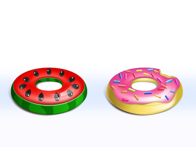 Realistic set of inflatable pink donut, rubber rings for kids, cute fun toys for pool party Free Vector