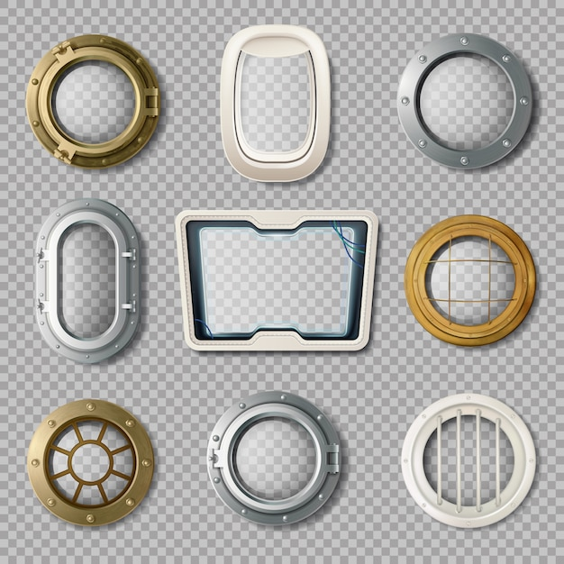 Realistic set of metal and plastic portholes of various shape on transparent background isolated vec Free Vector