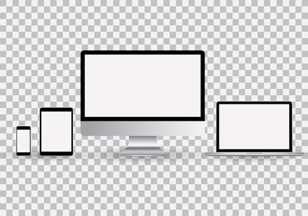 Realistic set of monitor, laptop, tablet, smartphone with blank white screen Premium Vector