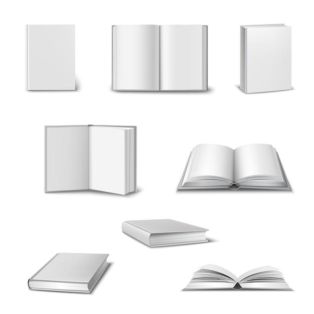 Реалистичный набор 3d открытых и закрытых книг Бесплатные векторы