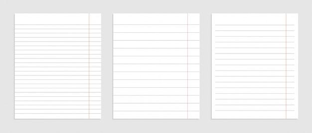 Реалистичный набор чистых листов бумаги Бесплатные векторы
