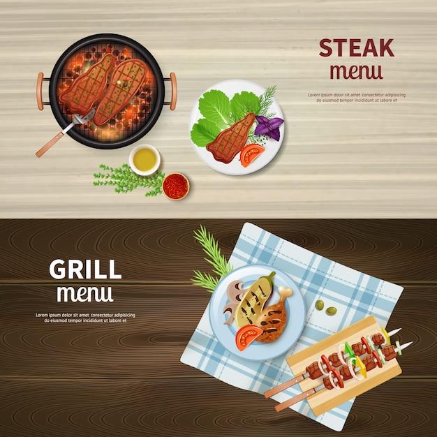 バーベキューグリルケバブステーキと野菜の水平方向のバナーの現実的なセット 無料ベクター