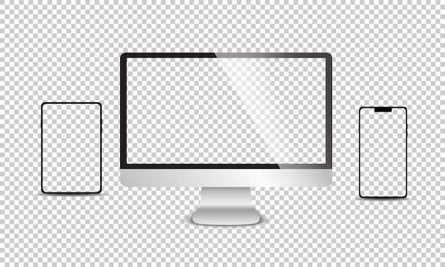 Реалистичный набор монитора, ноутбука, планшета, смартфона Premium векторы