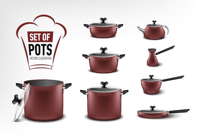 赤いキッチン家電、さまざまなサイズの鍋、コーヒーメーカー、トルコ人、シチュー鍋、フライパン、やかんの現実的なセット Premiumベクター