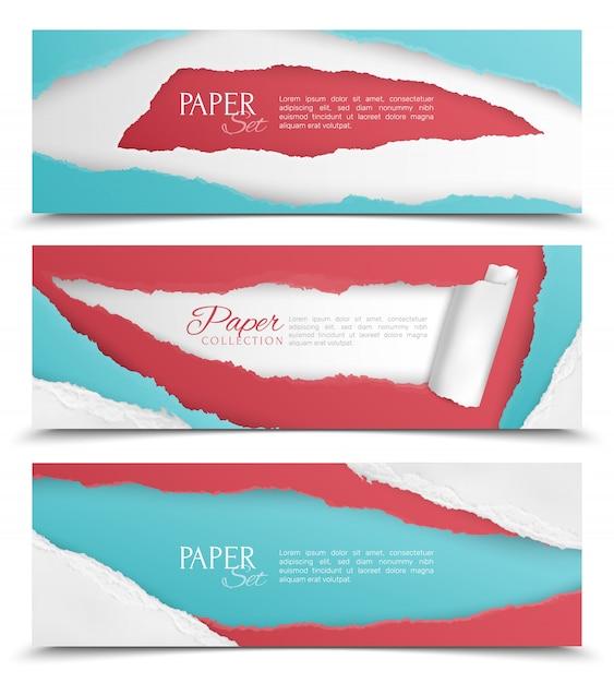 Реалистичный набор из трех горизонтальных абстрактных баннеров с красочными рваной бумаги дизайн и текстовое поле изолированы Бесплатные векторы