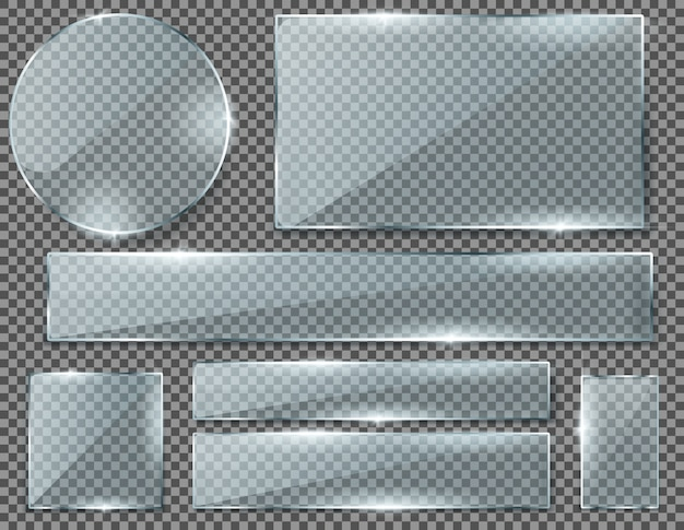 Realistic set of transparent glass plates, blank shining frames isolated on background.  Free Vector