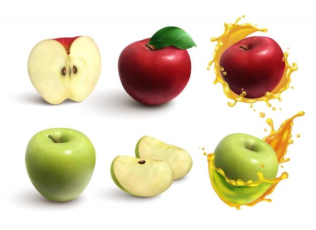 Реалистичный набор целых и нарезанных сочных красных и зеленых яблок, изолированных на белом Бесплатные векторы
