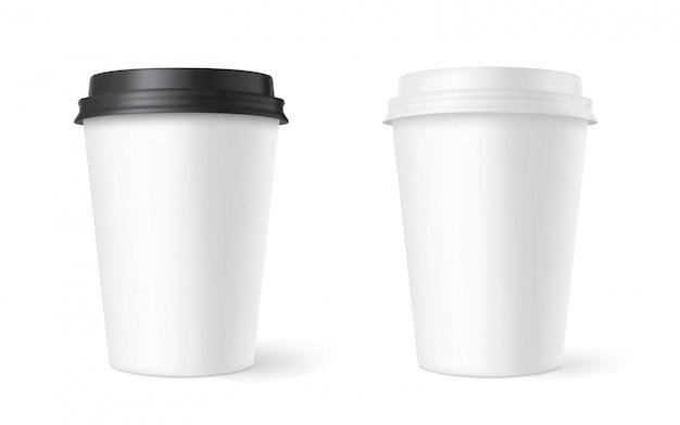白の現実的なセット紙コーヒーカップ。 3d Premiumベクター