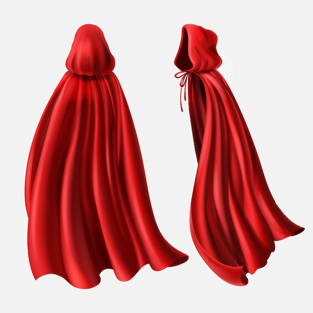 Realistic set of red cloaks with hood, flowing silk fabrics isolated on white. Free Vector