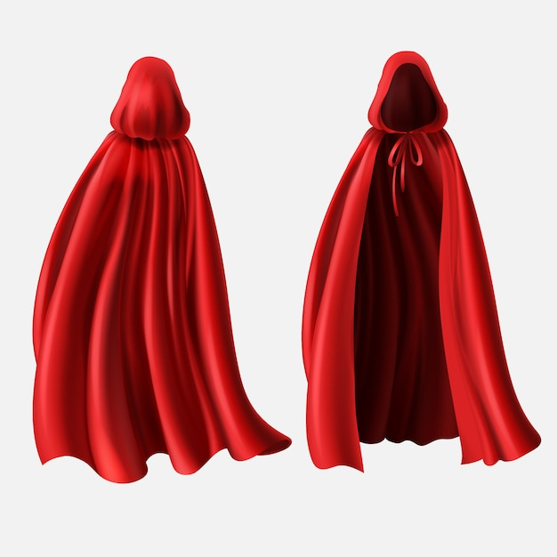 Realistic set of red cloaks with hoods isolated on white background. Free Vector
