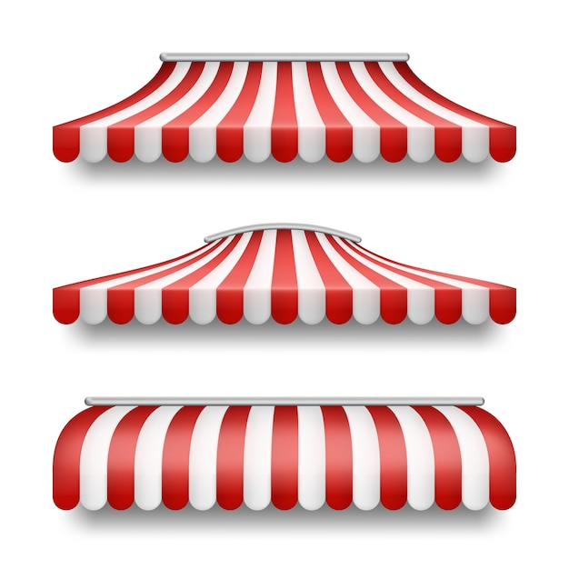Realistic set of striped awnings isolated on background. Free Vector