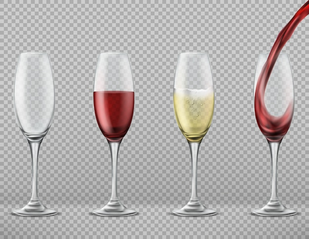 Realistic set of tall glasses empty, with pouring red wine, white merlot or champagne Free Vector