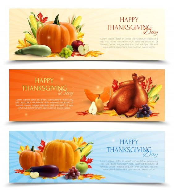 Insieme realistico di banner del giorno del ringraziamento con raccolto autunnale e tacchino arrosto Vettore gratuito