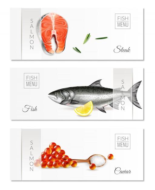 Un insieme realistico di tre insegne orizzontali con le bistecche di color salmone del menu del pesce e il caviale isolati Vettore gratuito