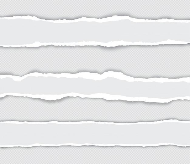 Реалистичный набор рваных краев бумаги с тенью на прозрачном Premium векторы