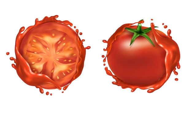 Realistic set of two red ripe tomatoes, whole fresh vegetable and half Free Vector