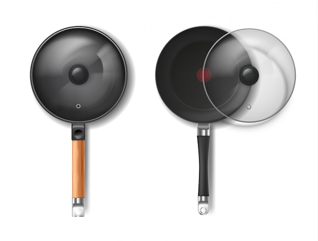 Realistic set of two round frying pans with glass lids, with red thermo-spot indicator Free Vector