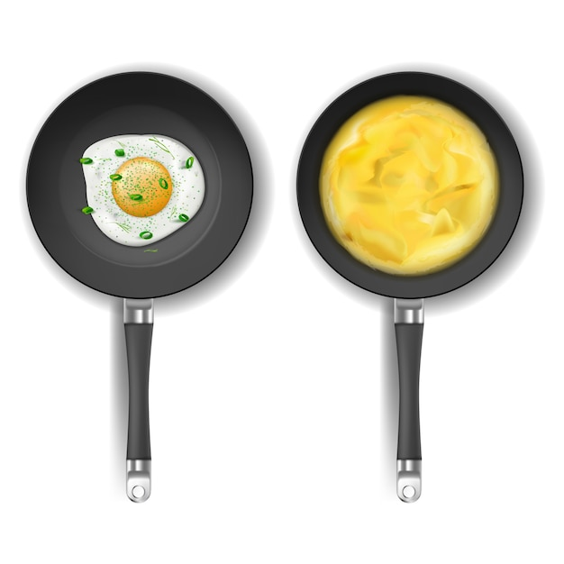 Realistic set of two round frying pans with non-stick coating isolated on background. Free Vector