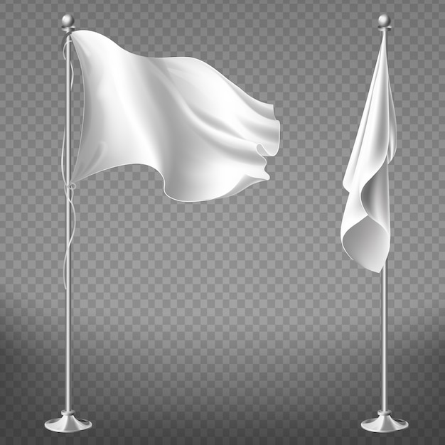 Realistic set of two white flags on steel poles isolated on transparent background. Free Vector