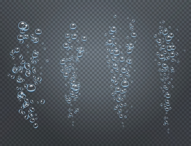 Realistic set of underwater fizzy streams consisting of ascending air bubbles Free Vector