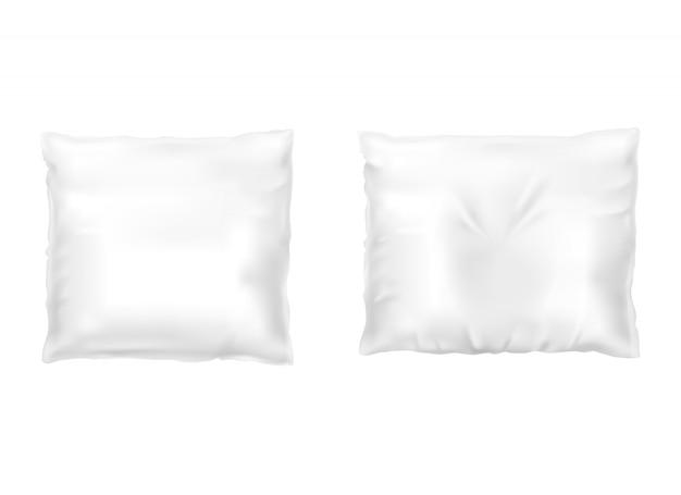 Set realistico di cuscini quadrati bianchi, confortevole, morbido, pulito e accartocciato Vettore gratuito