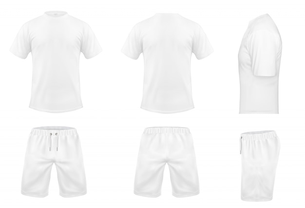 Realistic set of white t-shirts with short sleeves and shorts, sportswear, sport uniform Free Vector