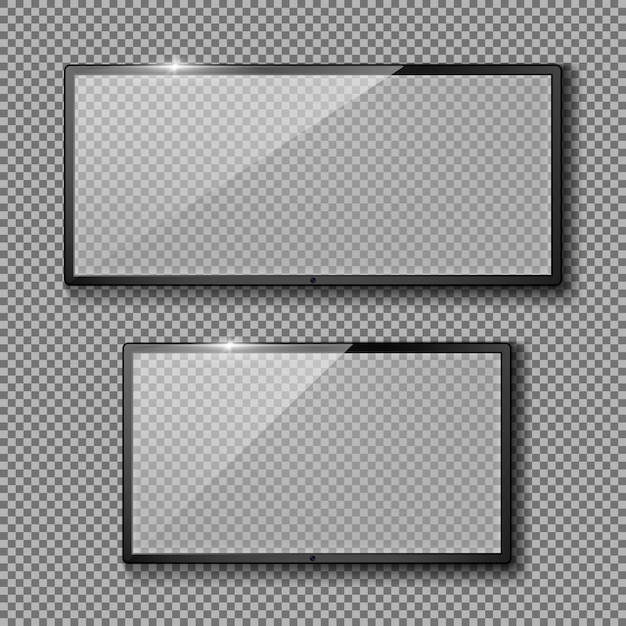 Realistic set with blank tv frames, black led displays or monitors Free Vector