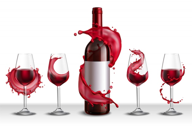 Realistic set with bottle of red wine and four drinking glasses filled with drink Free Vector