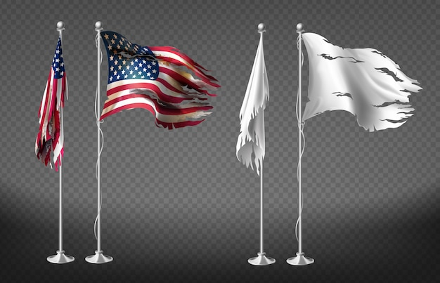 Realistic set with damaged flags of united states of america on steel poles Free Vector