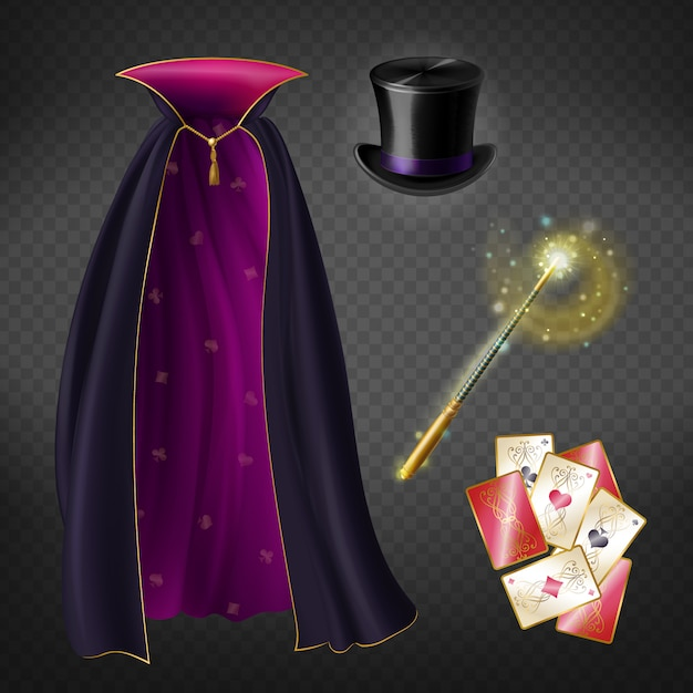 Realistic set with illusionist equipment for tricks isolated on transparent background. Free Vector