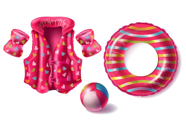 Realistic set with pink rubber ring, life jacket and armbands with pattern, inflatable beach Free Vector