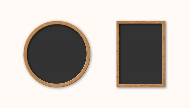 Realistic set wood picture frame isolated Premium Vector