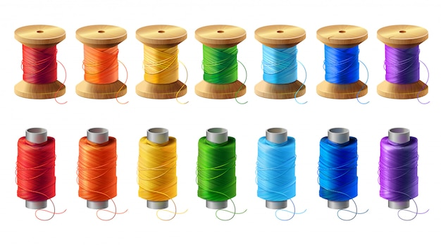 Realistic set of wooden and plastic bobbins, spools with colored thread Free Vector