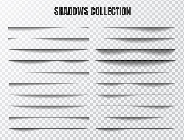 Realistic shadow effect set separate components on a transparent background Premium Vector